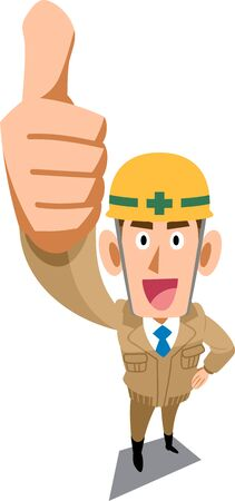 Construction site worker wearing beige work clothes that thumbs up Ilustracja