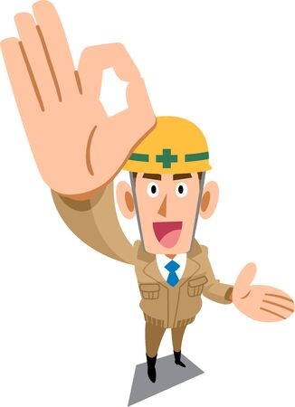 Construction site worker wearing beige work clothes showing OK sign by hand and guiding