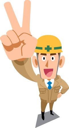 Construction site worker wearing beige work clothes showing peace sign Ilustracja