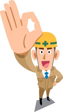 Construction site worker wearing beige work clothes showing OK sign by hand Ilustração