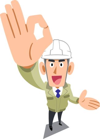 A man in a construction shop wearing a helmet showing OK sign with his hand