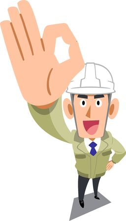 A man in a construction shop wearing a helmet showing an OK sign with his hand
