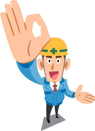 Construction site worker wearing blue work clothes showing OK sign by hand and guiding