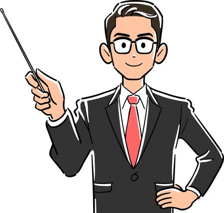 Upper body of businessman with glasses with pointing stick