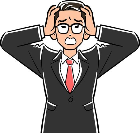 Upper body of a businessman with glasses holding his head