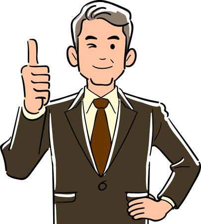 Upper body of a manager in a manager who thumbs up Vectores