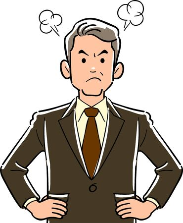 Upper body of manager business man getting angry with hands on hips Ilustrace