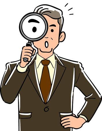 Upper body of manager businessman with magnifying glass