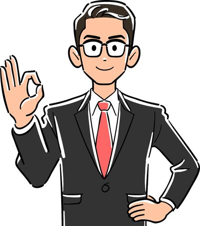 Upper body of businessman wearing glasses giving OK sign by hand 일러스트
