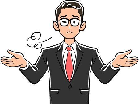 Haut du corps d'un homme d'affaires portant des lunettes qui soupire à bras ouverts Vecteurs