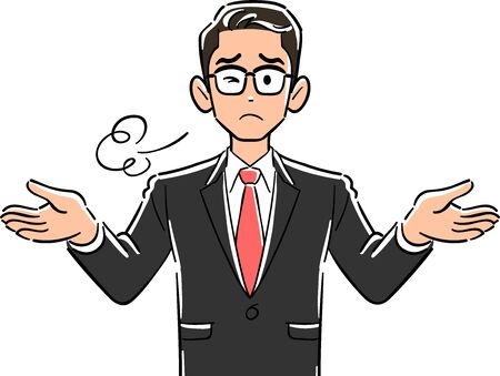 Upper body of businessman wearing glasses that sighs with open arms