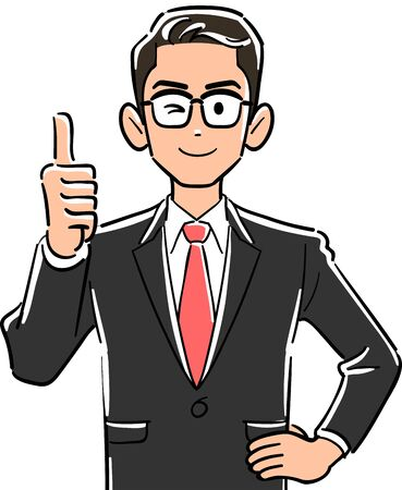 Upper body of businessman wearing glasses to thumb up