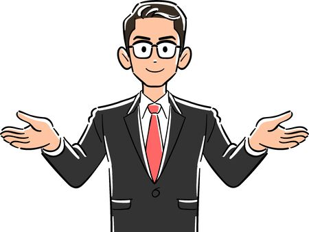Upper body of a businessman with glasses spreading his hands