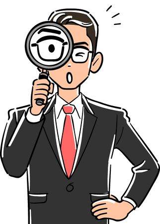 Upper body of businessman with glasses holding magnifying glass