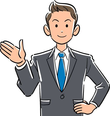 Upper body of a young businessman with palms pointing to the right
