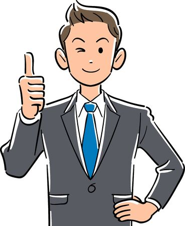 Upper body of young businessman thumbs up Vectores