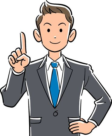 Upper body of young businessman explaining with index finger up