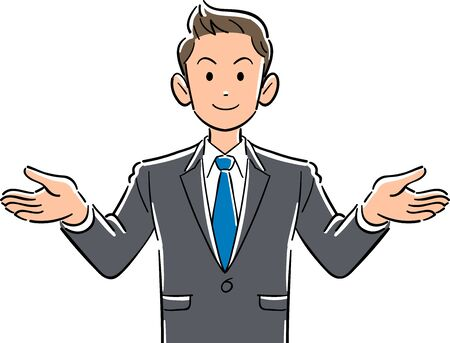 Upper part of young businessman with open arms