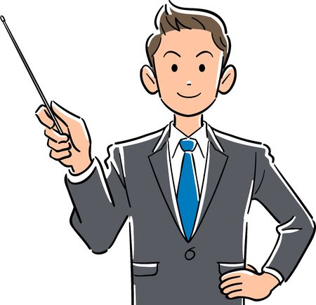 Upper body of young businessman with pointing stick