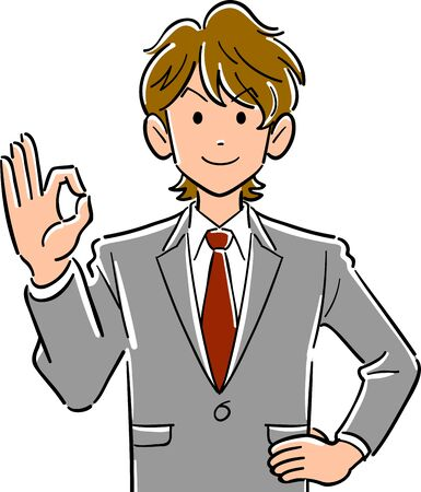 Upper body of young brown haired businessman giving OK sign with hand Ilustrace