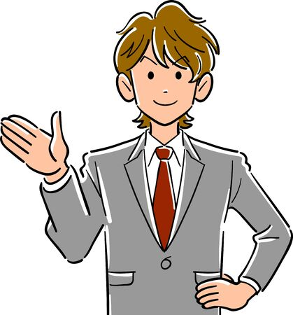 Upper body of a young businessman with brown hair pointing his palm to the right