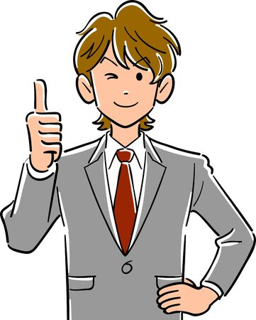 Upper body of young businessman with thumb up