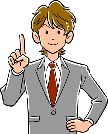 Upper body of a young businessman with brown hair explaining with index finger up