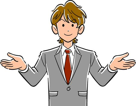Upper body of a young businessman with brown hair spreading both hands 일러스트
