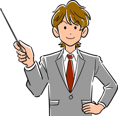 Upper body of young businessman with brown hair with pointing stick