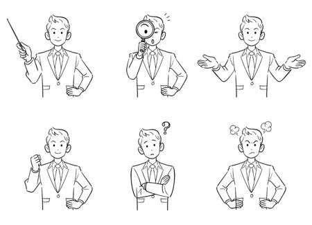 Upper body 6-piece set 2 line drawing of young businessman with short hair