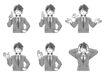 Set of 6 upper body of young brown haired businessman 1 grayscale 일러스트
