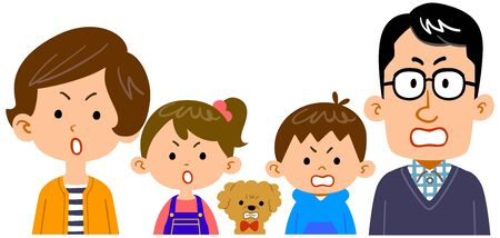 Illustration of upper body of family of four with angry expression Ilustracja