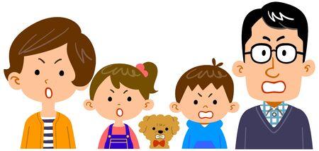 Ilustración de la parte superior del cuerpo de una familia de cuatro con expresión enojada Ilustración de vector