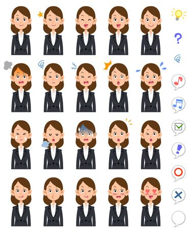 20 different expressions and upper body of business woman 일러스트