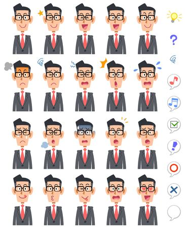 20 different facial expressions and upper body of a businessman wearing glasses Illustration