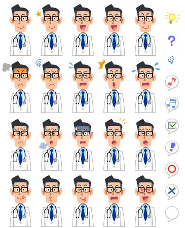 20 different facial expressions and upper body of male doctor 일러스트