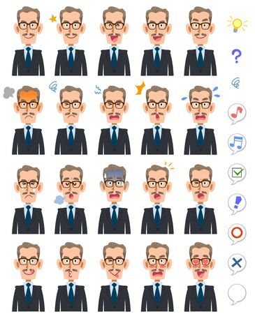20 different expressions and upper body of an elderly man wearing glasses and accumulating salmon
