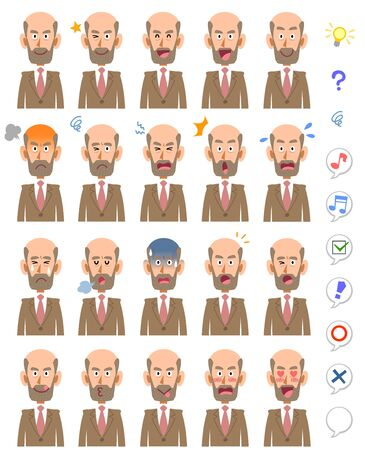 20 facial expressions and upper body of middle-aged men who stored beards Company boss manager scholar