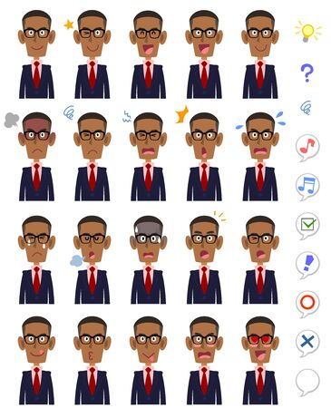 20 different facial expressions and upper body of black men wearing glasses 일러스트