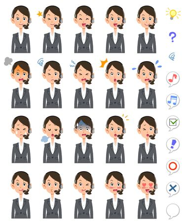 20 facial expressions of female operators wearing headsets Illustration