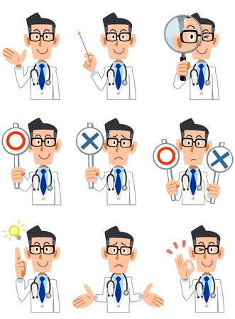 9 types of doctors upper body poses and gestures 2
