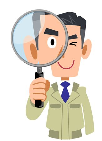 Upper body of a man in work clothes looking through a magnifying glass