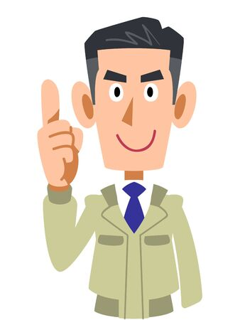 Upper body of man in work clothes explaining with index finger up