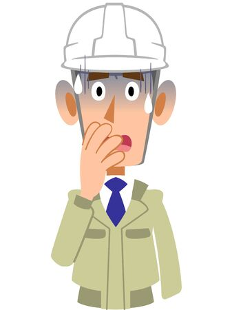 Upper body of a man in work clothes wearing a pale helmet Illustration