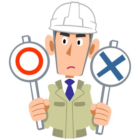 Upper body of a man wearing a work clothes wearing a helmet that thinks about the correct answer Illustration