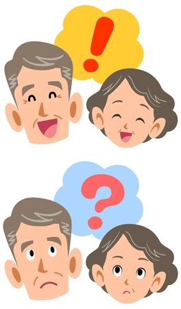 Senior couple questioning and solving facial expression set