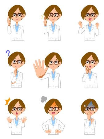 Nine poses and gestures for the upper body of a woman wearing a white coat