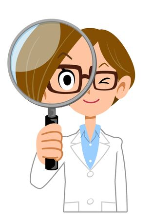A woman wearing a lab coat looking through a magnifying glass