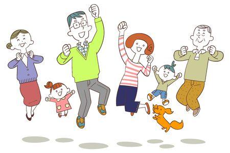 Familia de tres generaciones saltando