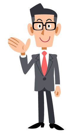Full body of a businessman wearing glasses to guide